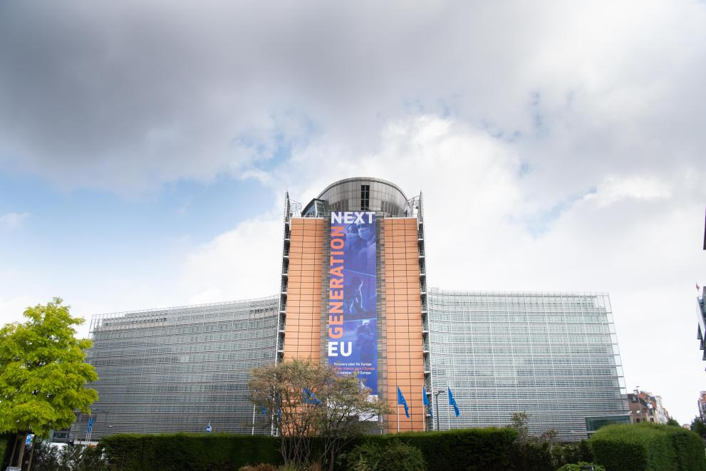 The banner Recovery Plan for Europe, on the front of the Berlaymont building