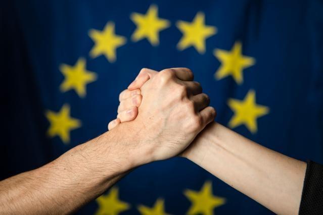 European flag and symbolic handshake